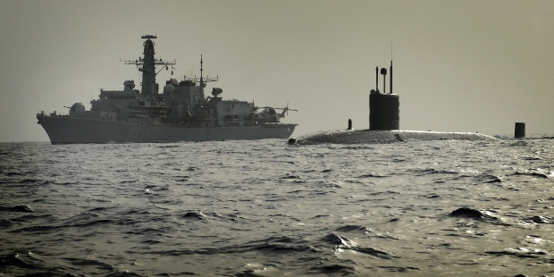 Royal Navy Submarine HMS Turbulent with Type 23 Frigate HMS St Albans
