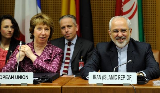 Mohammed Javad Zarif, James Morrison, Head of cabinet of Catherine Ashton, and Catherine Ashton (from right to left)