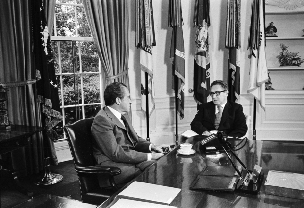 President Nixon meeting with Henry Kissinger in the Oval Office. October 8, 1973
