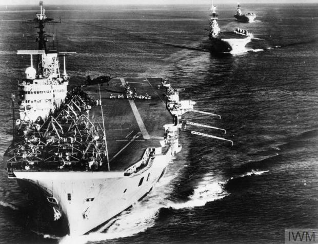 THE SUEZ OPERATION OCTOBER - DECEMBER 1956 (A 33601) British Forces: Three of the five British aircraft carriers involved in the Suez operation. HMS EAGLE leads HMS BULWARK and HMS ALBION. Copyright: © IWM. Original Source: http://www.iwm.org.uk/collections/item/object/205187820